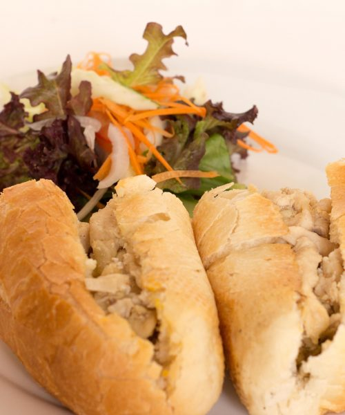Baguette: Filled with chicken & roast vegetable ($4.00), Filled with garlic mushroom with cheese($4.00), Filled with salami with cream cheese ($4.00), Filled with BLT ($4.00), Filled with ham salad ($4.00), Filled with cheese salad ($4.00), Filled with tuna & mayonnaise ($4.00), Filled with mediterranean vegetable ($4.00), Filled with egg & tomato ($3.25),